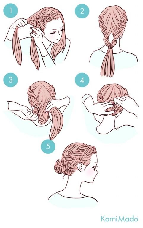 Penteado de coque com tracas laterais