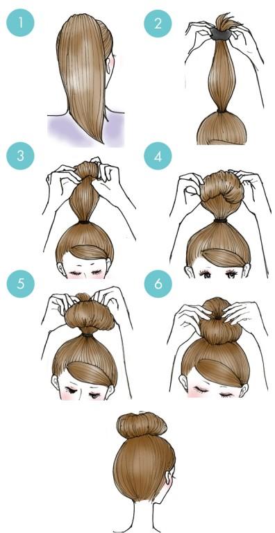 penteado de coque estilo rosquinha