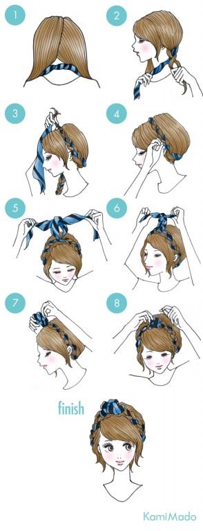 penteado de trança com bandana