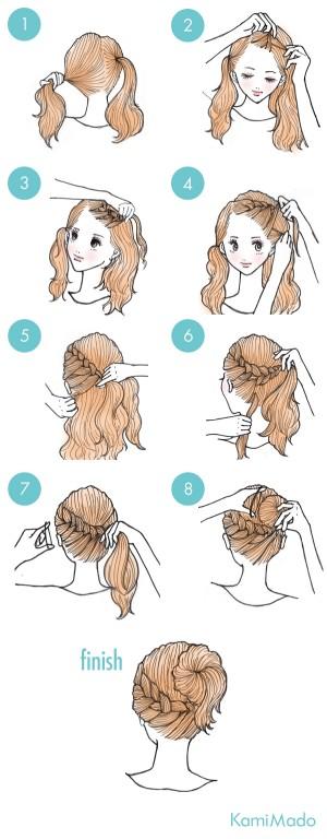 penteado de traca frontal com detalhe no coque