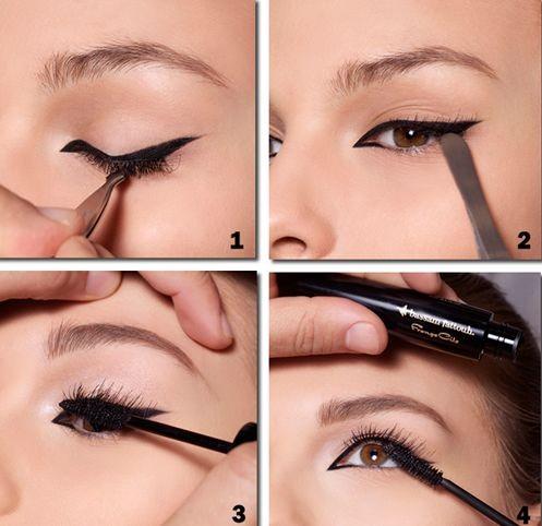 aplicando maquiagem após colocar cílios postiços