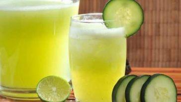 Água de Pepino, Gengibre, e Limão Para Eliminar Barriga